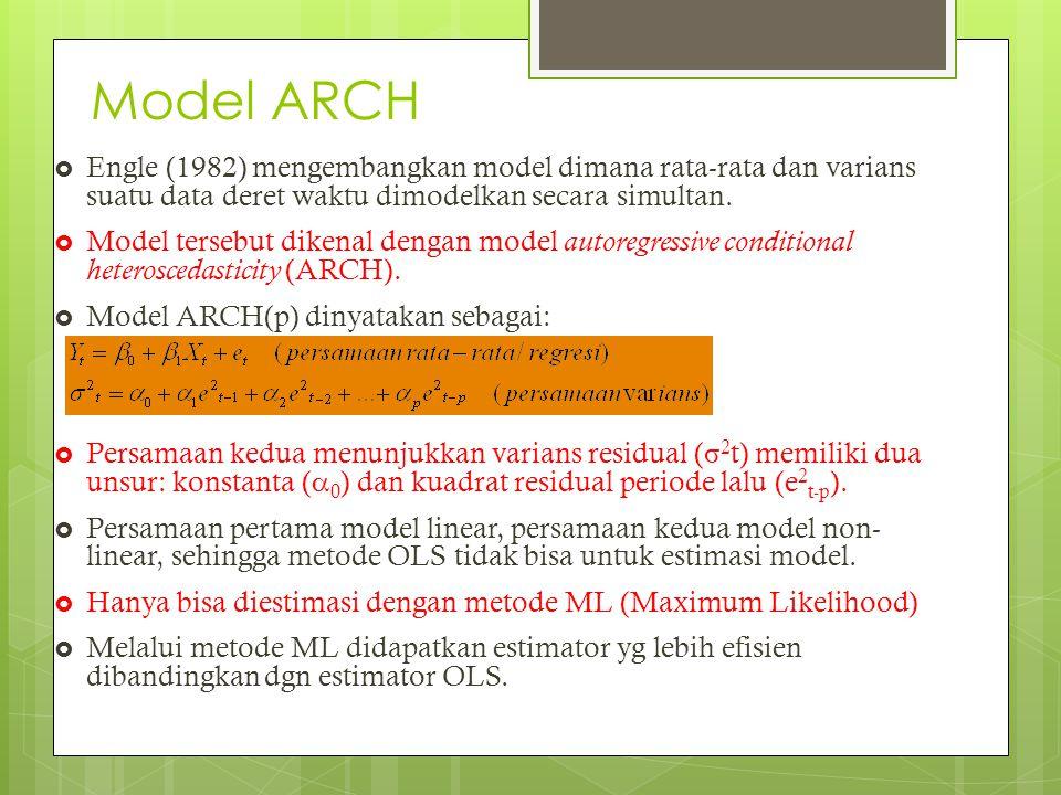 Model ARCH Engle (1982) mengembangkan model dimana rata-rata dan varians suatu data deret waktu dimodelkan secara simultan.