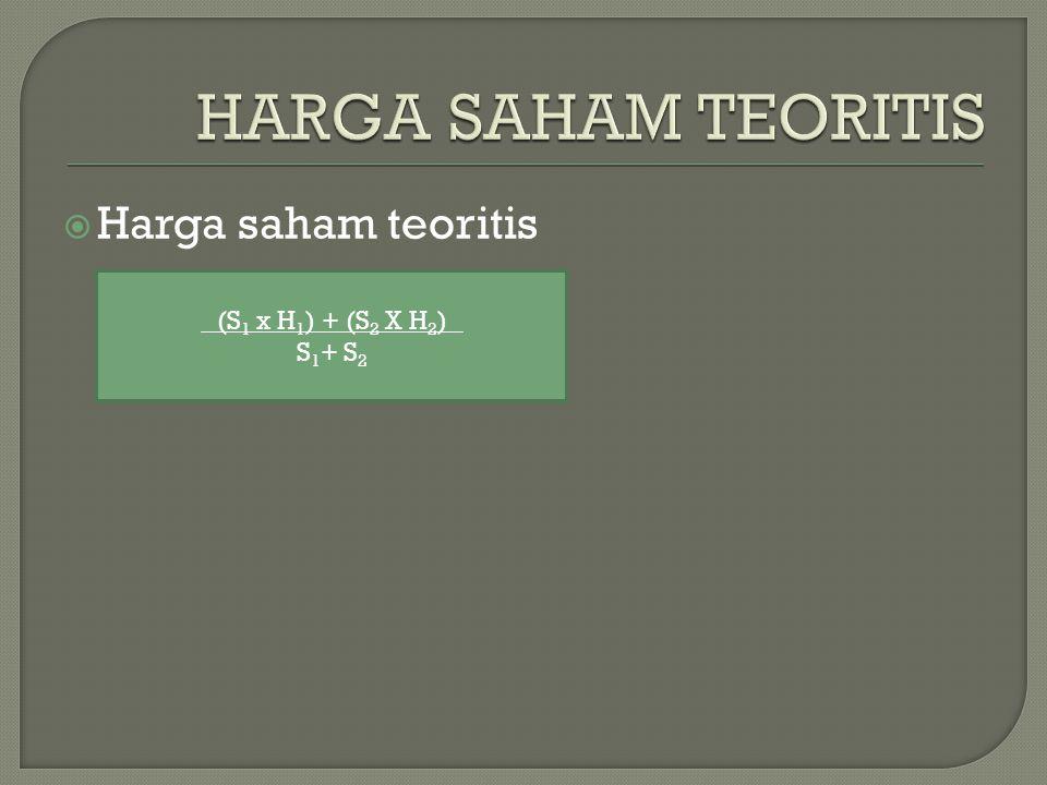 HARGA SAHAM TEORITIS Harga saham teoritis (S1 x H1) + (S2 X H2) S1+ S2