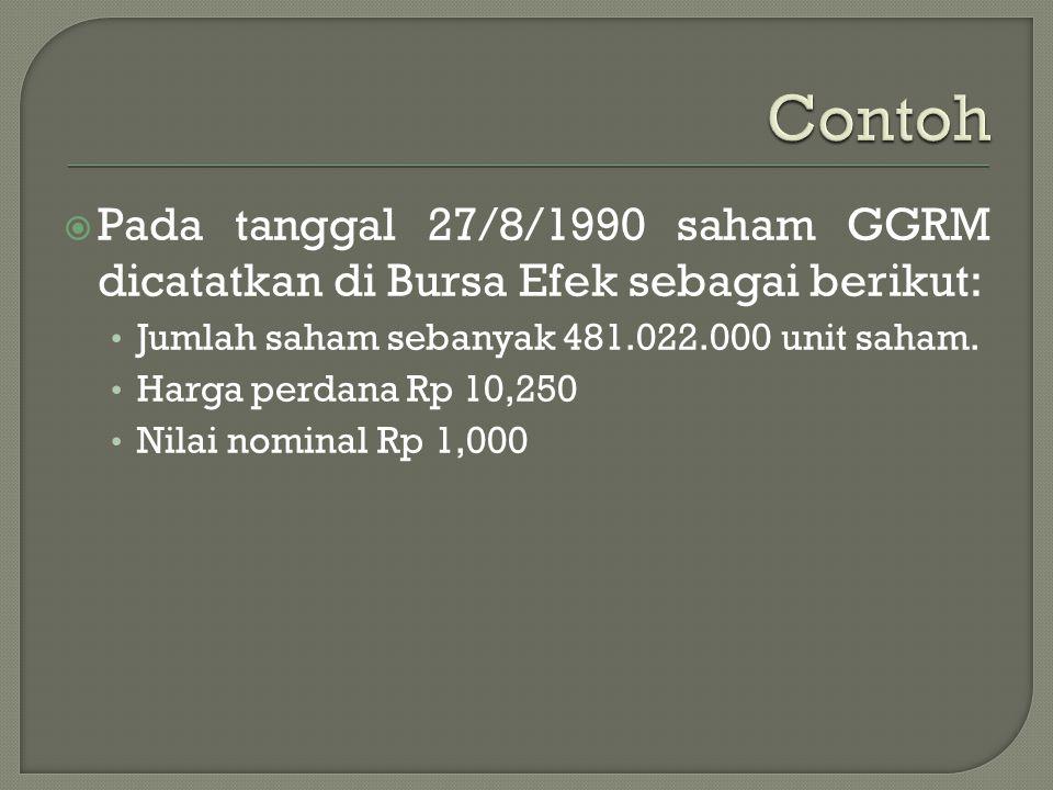 Contoh Pada tanggal 27/8/1990 saham GGRM dicatatkan di Bursa Efek sebagai berikut: Jumlah saham sebanyak 481.022.000 unit saham.