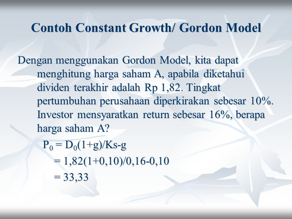 Contoh Constant Growth/ Gordon Model