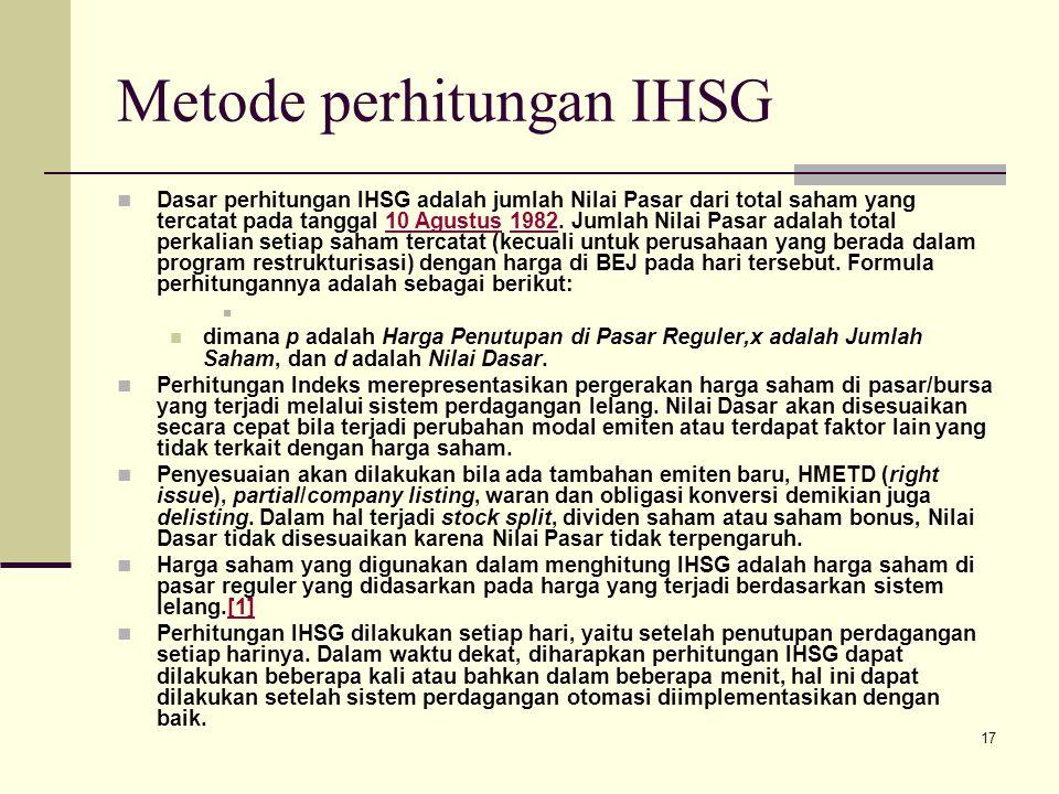 Metode perhitungan IHSG