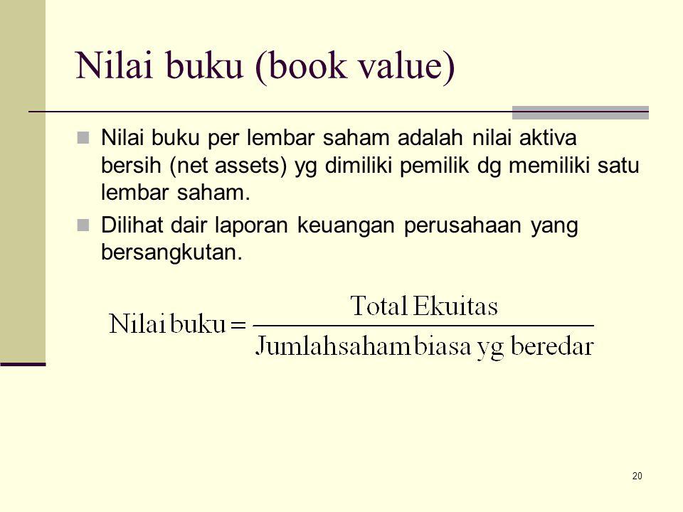 Nilai buku (book value)