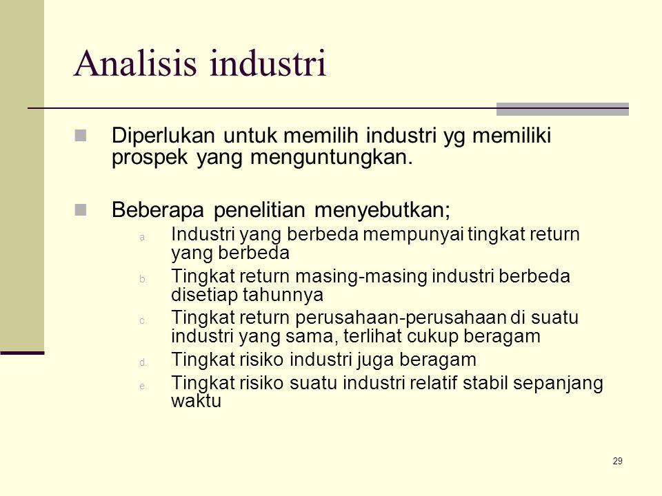 Analisis industri Diperlukan untuk memilih industri yg memiliki prospek yang menguntungkan. Beberapa penelitian menyebutkan;