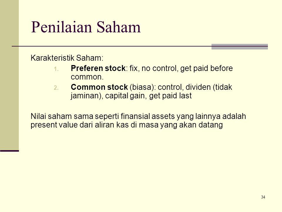 Penilaian Saham Karakteristik Saham: