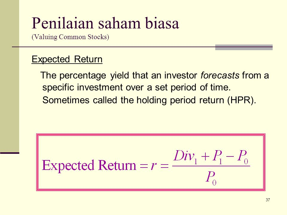 Penilaian saham biasa (Valuing Common Stocks)