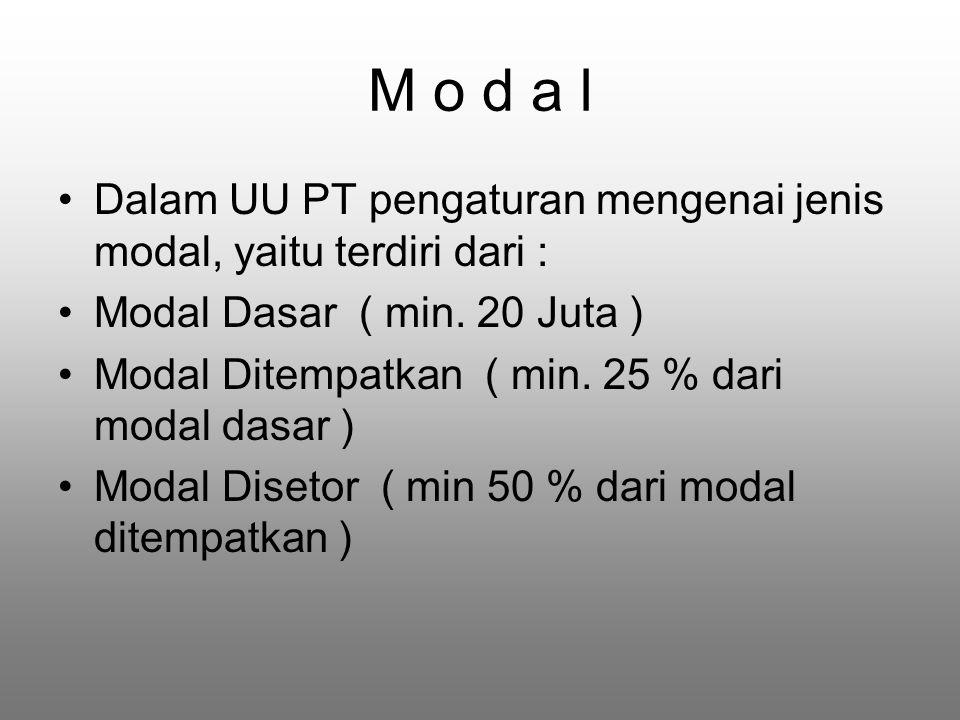 M o d a l Dalam UU PT pengaturan mengenai jenis modal, yaitu terdiri dari : Modal Dasar ( min. 20 Juta )