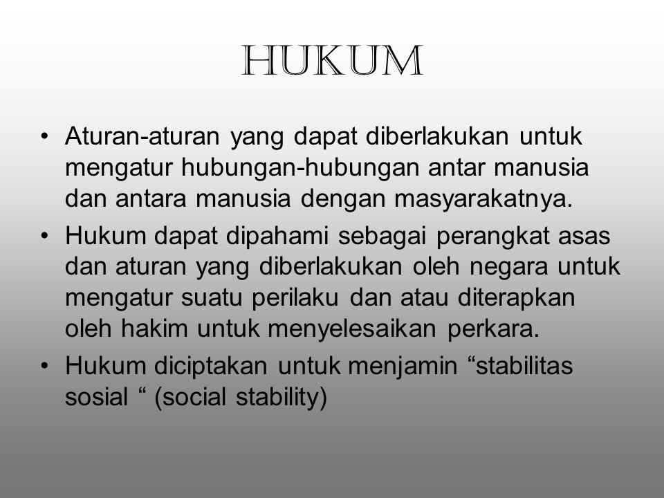 HUKUM Aturan-aturan yang dapat diberlakukan untuk mengatur hubungan-hubungan antar manusia dan antara manusia dengan masyarakatnya.