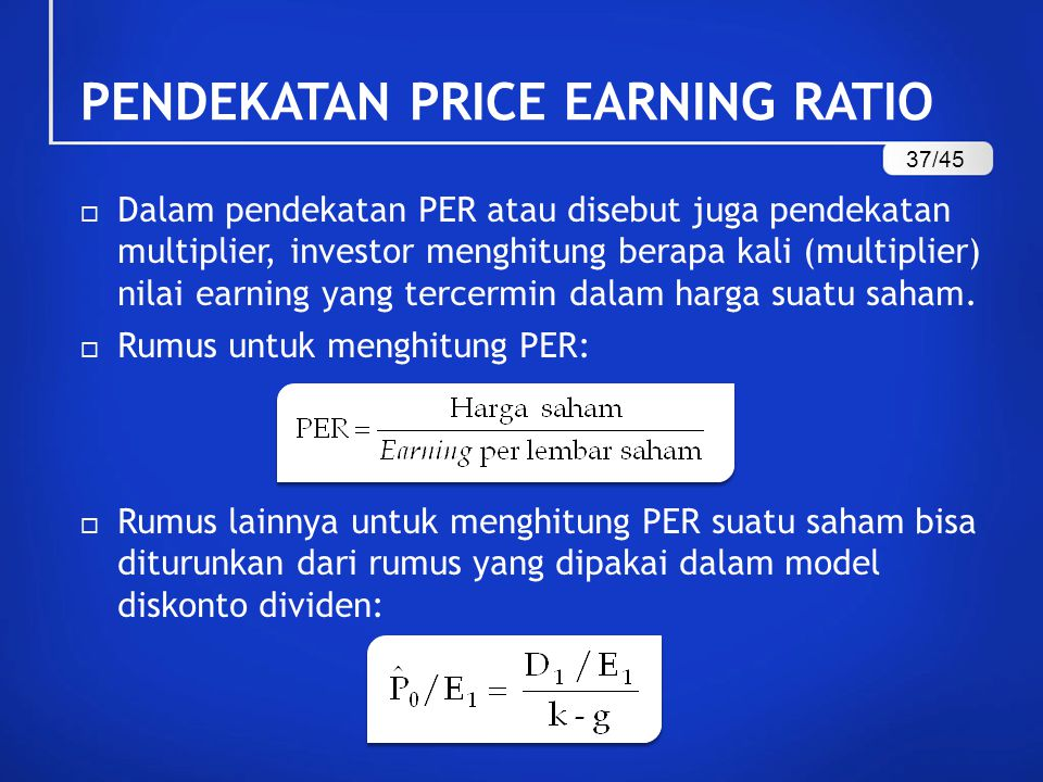 PENDEKATAN PRICE EARNING RATIO