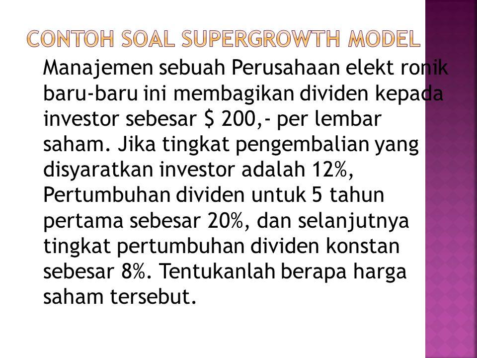 Contoh soal supergrowth model
