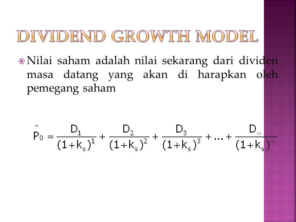 Dividend growth model Nilai saham adalah nilai sekarang dari dividen masa datang yang akan di harapkan oleh pemegang saham.