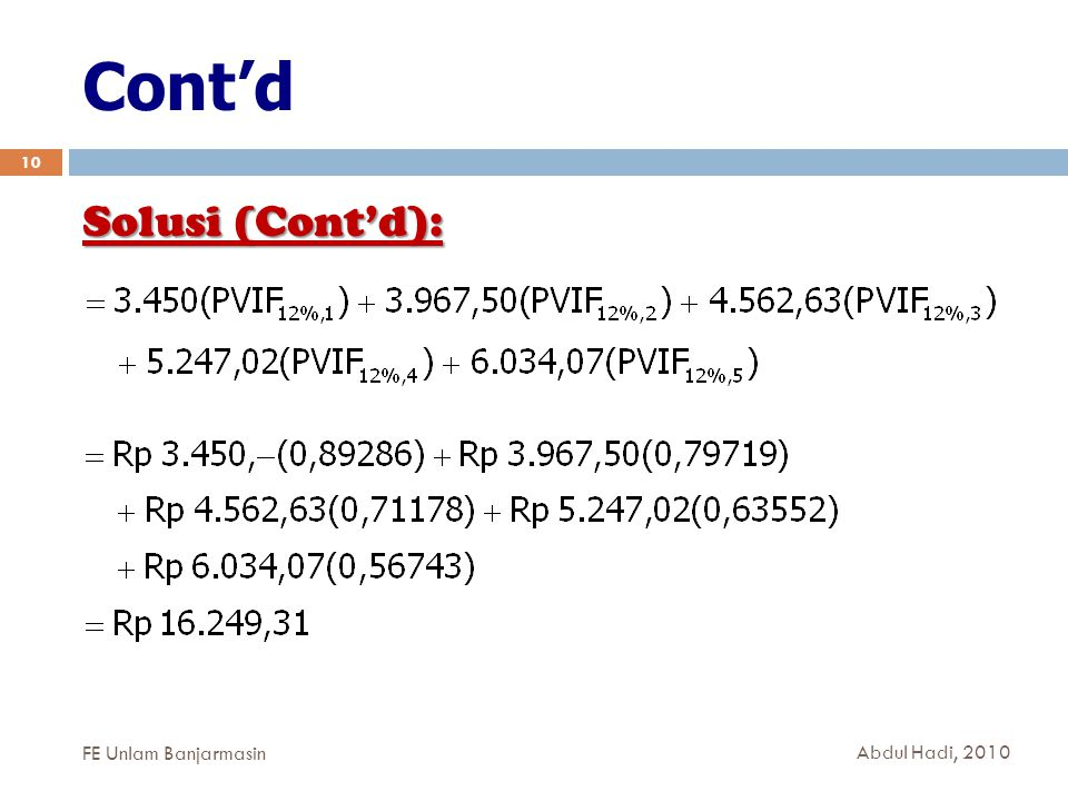 Cont'd Solusi (Cont'd): FE Unlam Banjarmasin Abdul Hadi, 2010