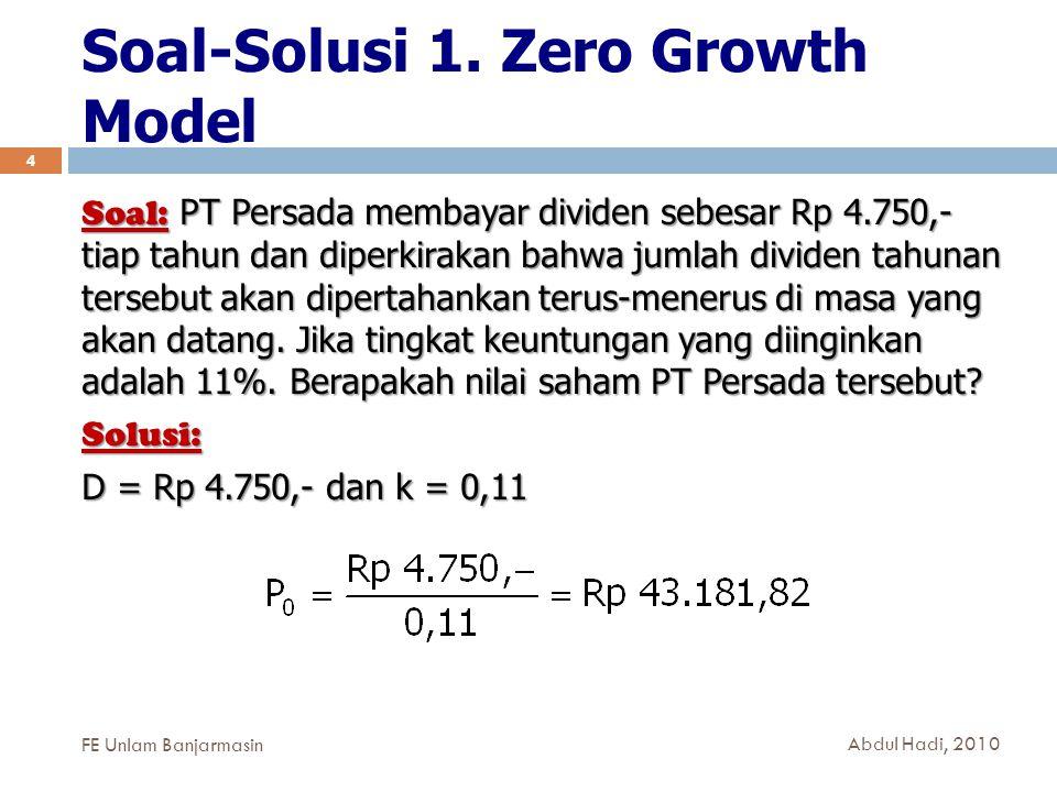 Soal-Solusi 1. Zero Growth Model