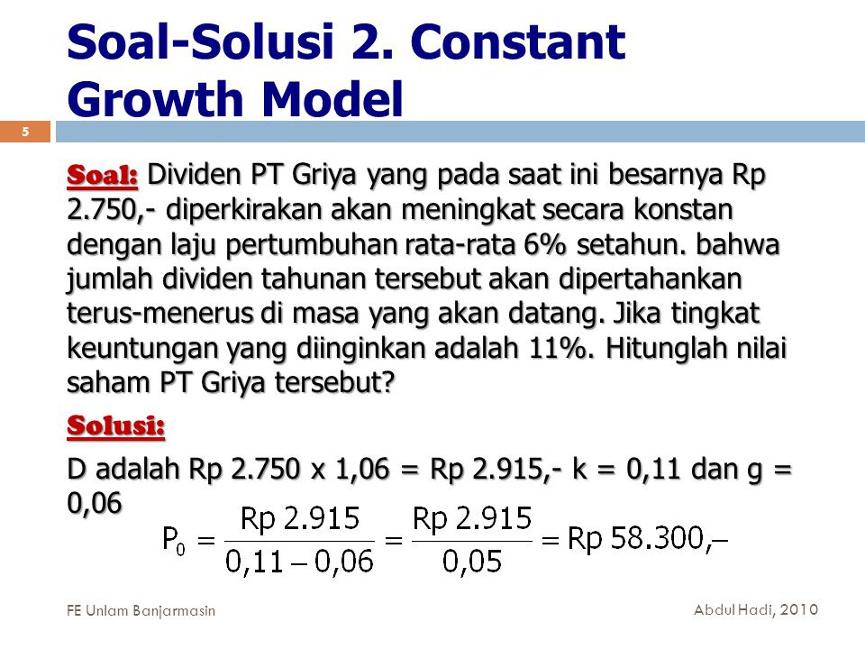 Soal-Solusi 2. Constant Growth Model