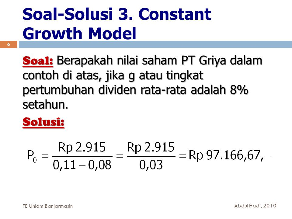 Soal-Solusi 3. Constant Growth Model