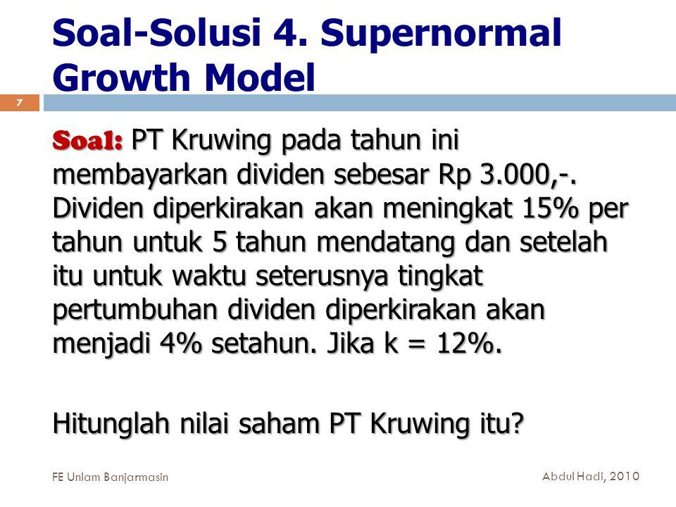 Soal-Solusi 4. Supernormal Growth Model
