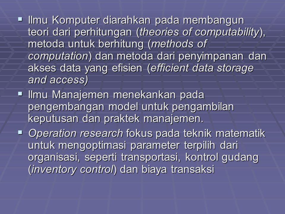 Ilmu Komputer diarahkan pada membangun teori dari perhitungan (theories of computability), metoda untuk berhitung (methods of computation) dan metoda dari penyimpanan dan akses data yang efisien (efficient data storage and access)