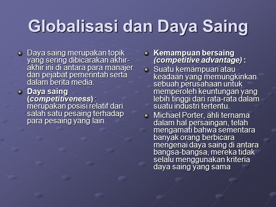 Globalisasi dan Daya Saing