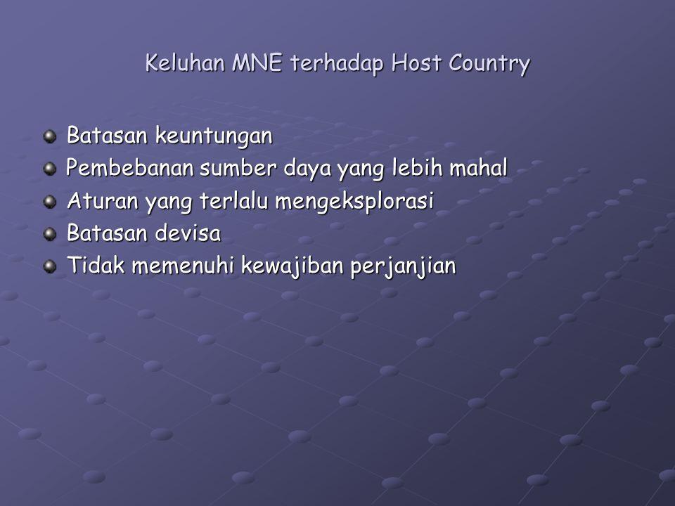 Keluhan MNE terhadap Host Country