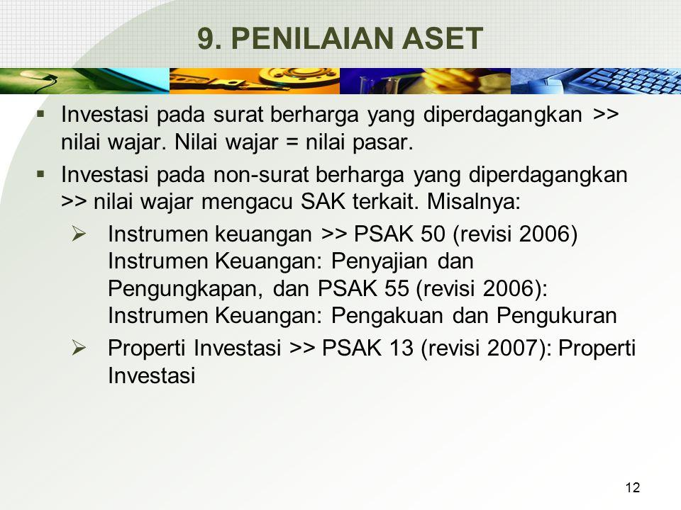 9. PENILAIAN ASET Investasi pada surat berharga yang diperdagangkan >> nilai wajar. Nilai wajar = nilai pasar.