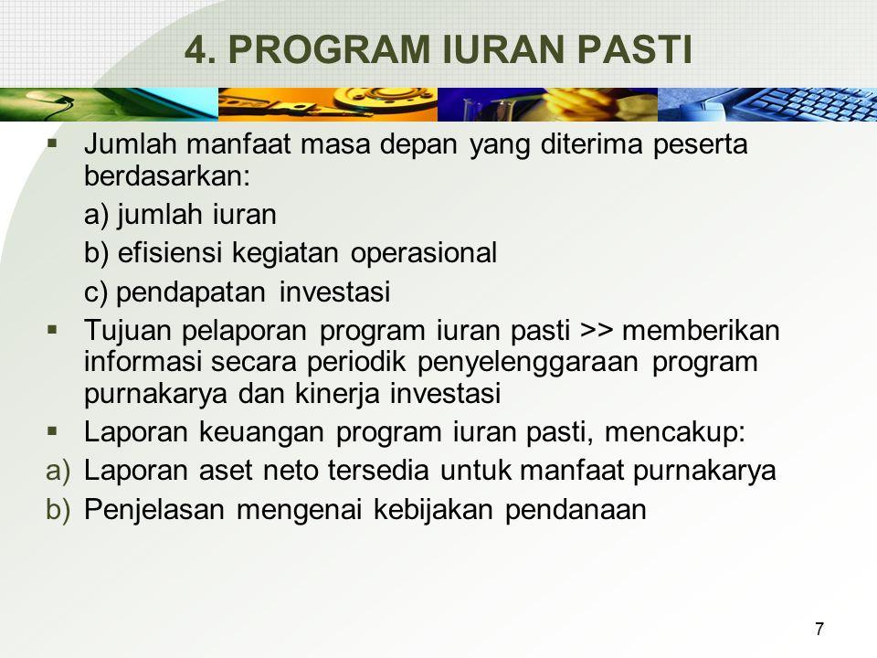 4. PROGRAM IURAN PASTI Jumlah manfaat masa depan yang diterima peserta berdasarkan: a) jumlah iuran.