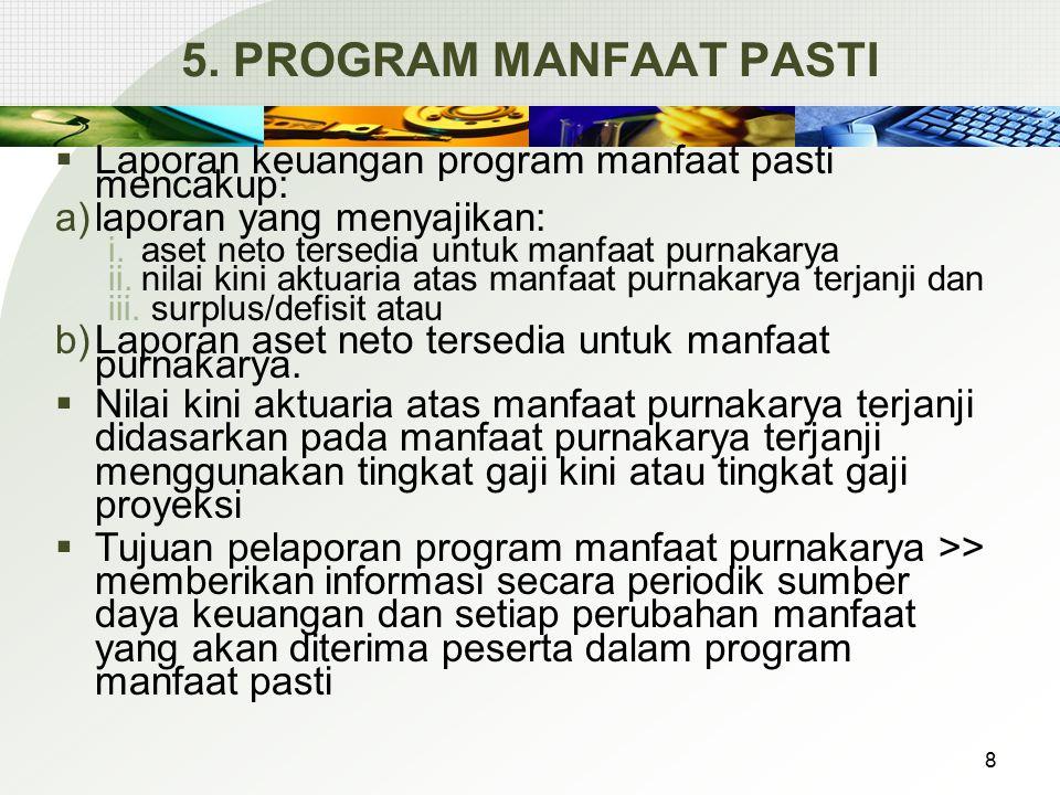 5. PROGRAM MANFAAT PASTI Laporan keuangan program manfaat pasti mencakup: laporan yang menyajikan: