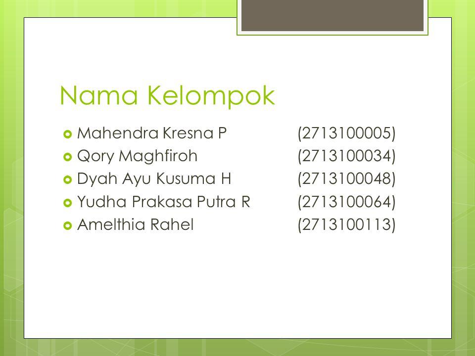 Nama Kelompok Mahendra Kresna P (2713100005)