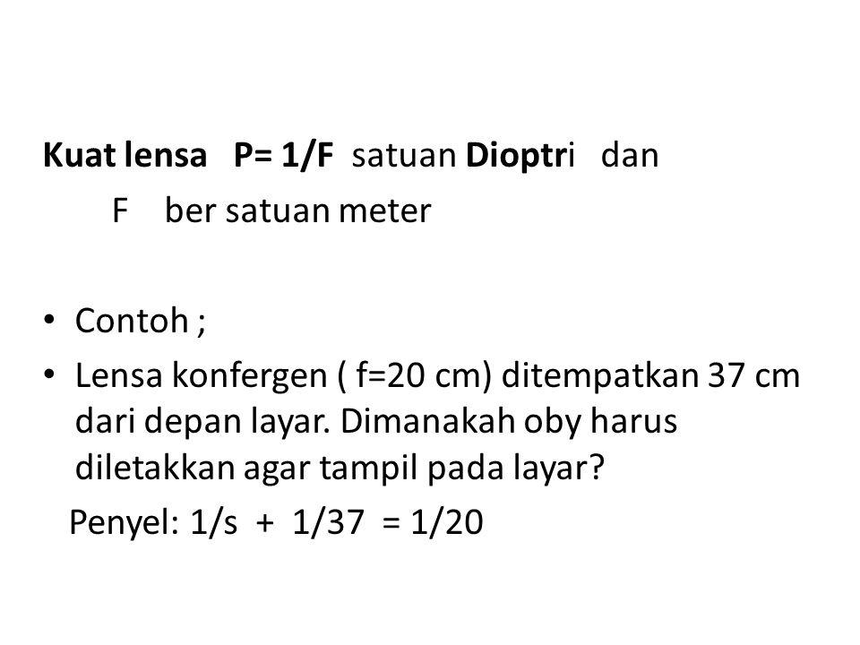 Kuat lensa P= 1/F satuan Dioptri dan