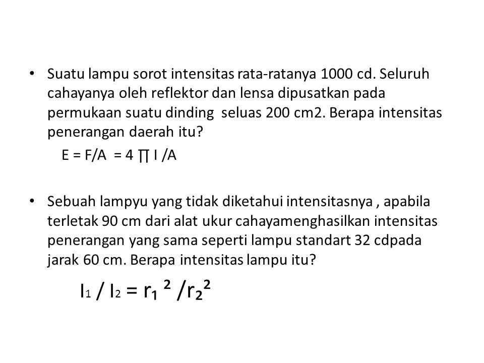 Suatu lampu sorot intensitas rata-ratanya 1000 cd