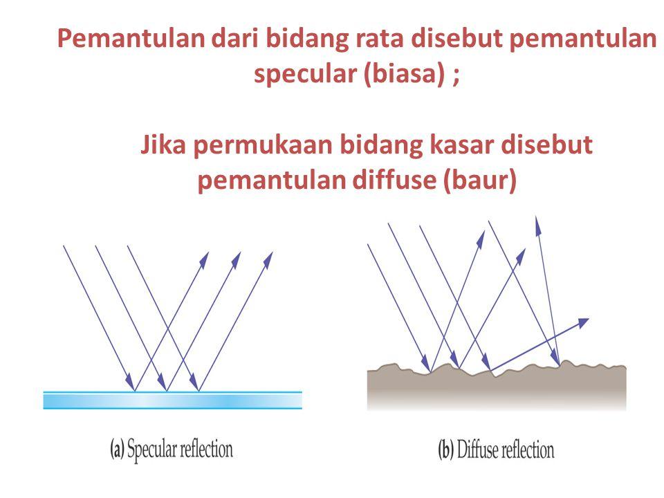 Pemantulan dari bidang rata disebut pemantulan specular (biasa) ; Jika permukaan bidang kasar disebut pemantulan diffuse (baur)