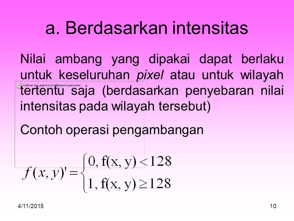 a. Berdasarkan intensitas