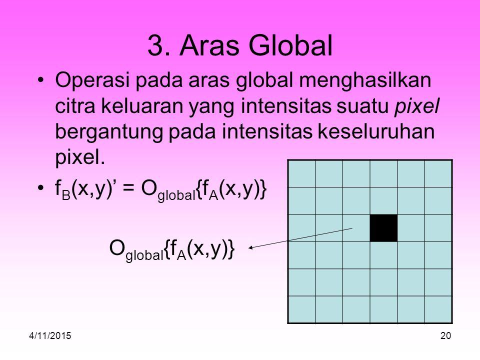 3. Aras Global Operasi pada aras global menghasilkan citra keluaran yang intensitas suatu pixel bergantung pada intensitas keseluruhan pixel.