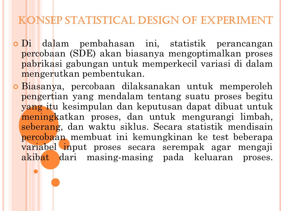 Konsep Statistical Design Of Experiment