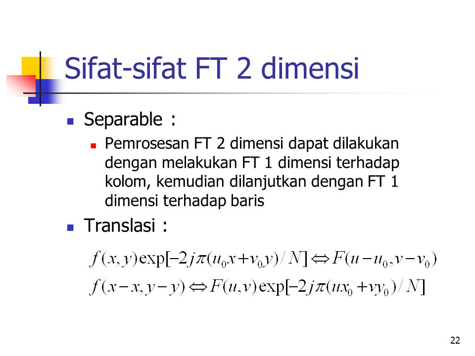 Sifat-sifat FT 2 dimensi