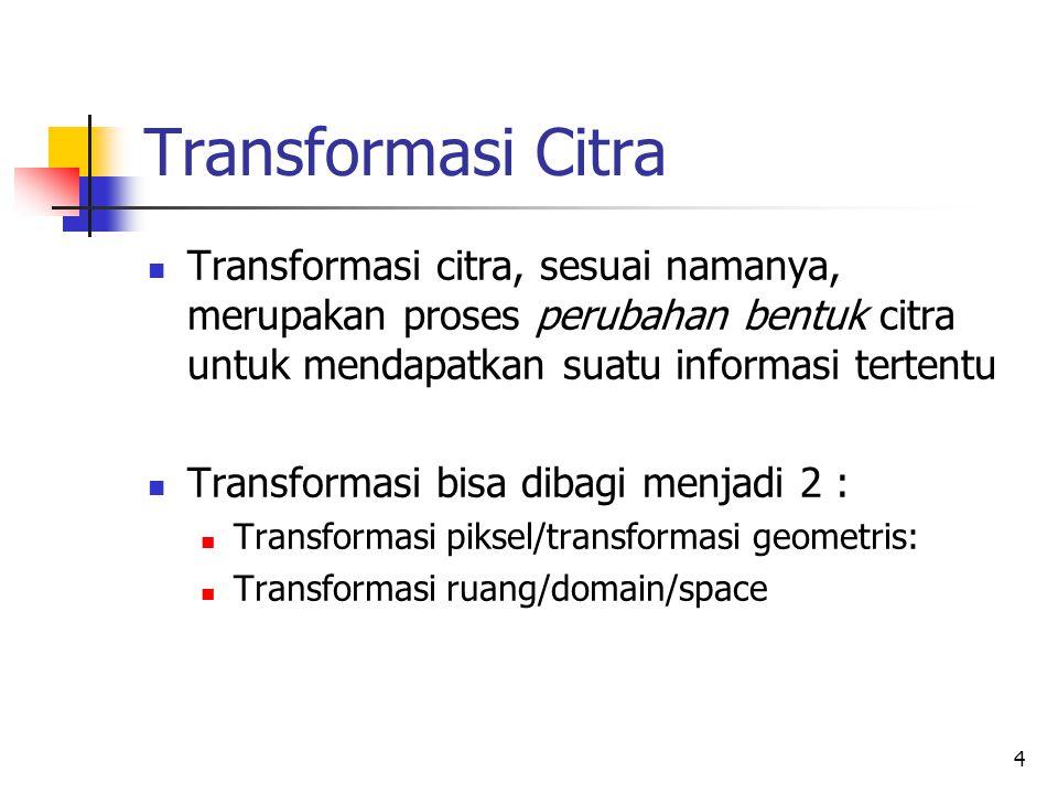 Transformasi Citra Transformasi citra, sesuai namanya, merupakan proses perubahan bentuk citra untuk mendapatkan suatu informasi tertentu.