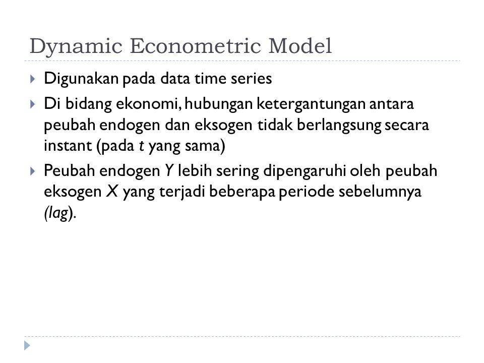 Dynamic Econometric Model