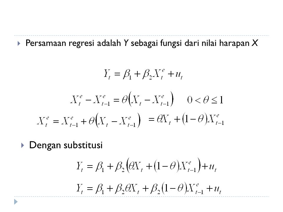 Persamaan regresi adalah Y sebagai fungsi dari nilai harapan X