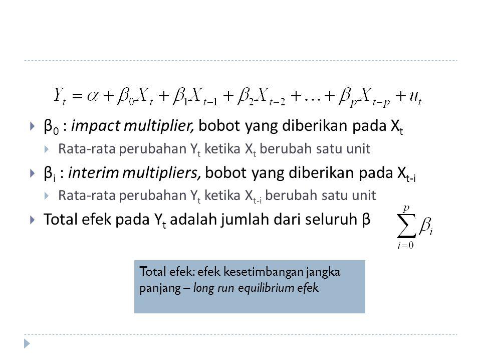 β0 : impact multiplier, bobot yang diberikan pada Xt