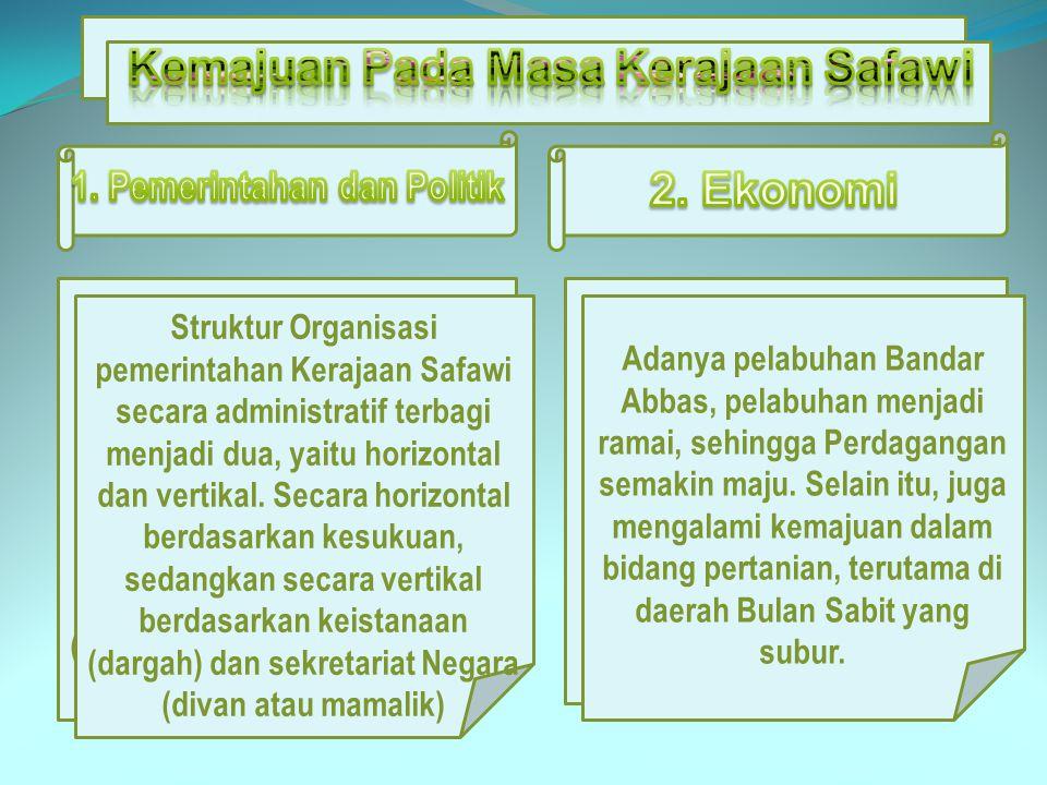 Kemajuan Pada Masa Kerajaan Safawi 1. Pemerintahan dan Politik