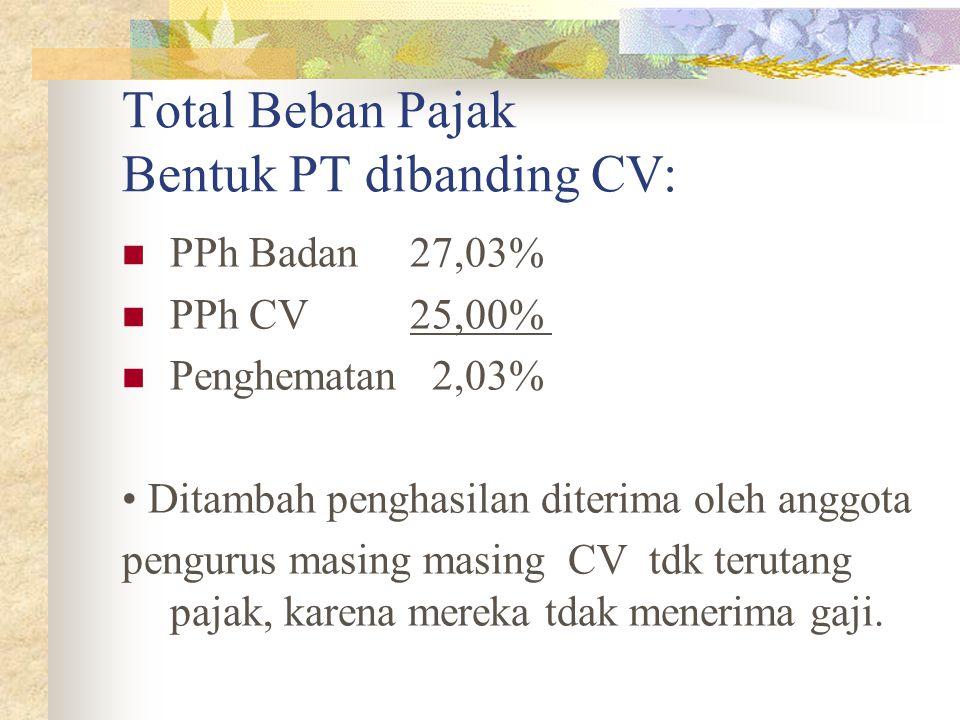 Total Beban Pajak Bentuk PT dibanding CV: