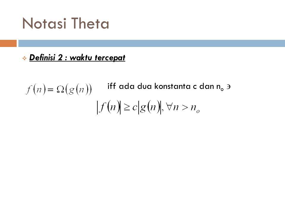 Notasi Theta Definisi 2 : waktu tercepat