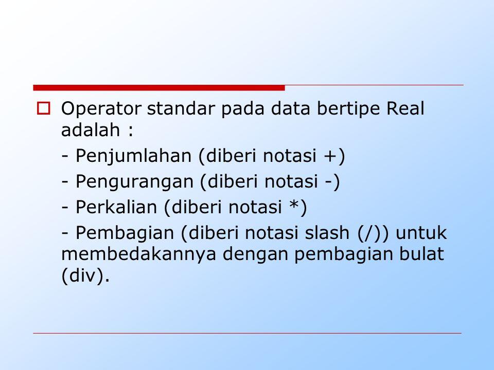 Operator standar pada data bertipe Real adalah :