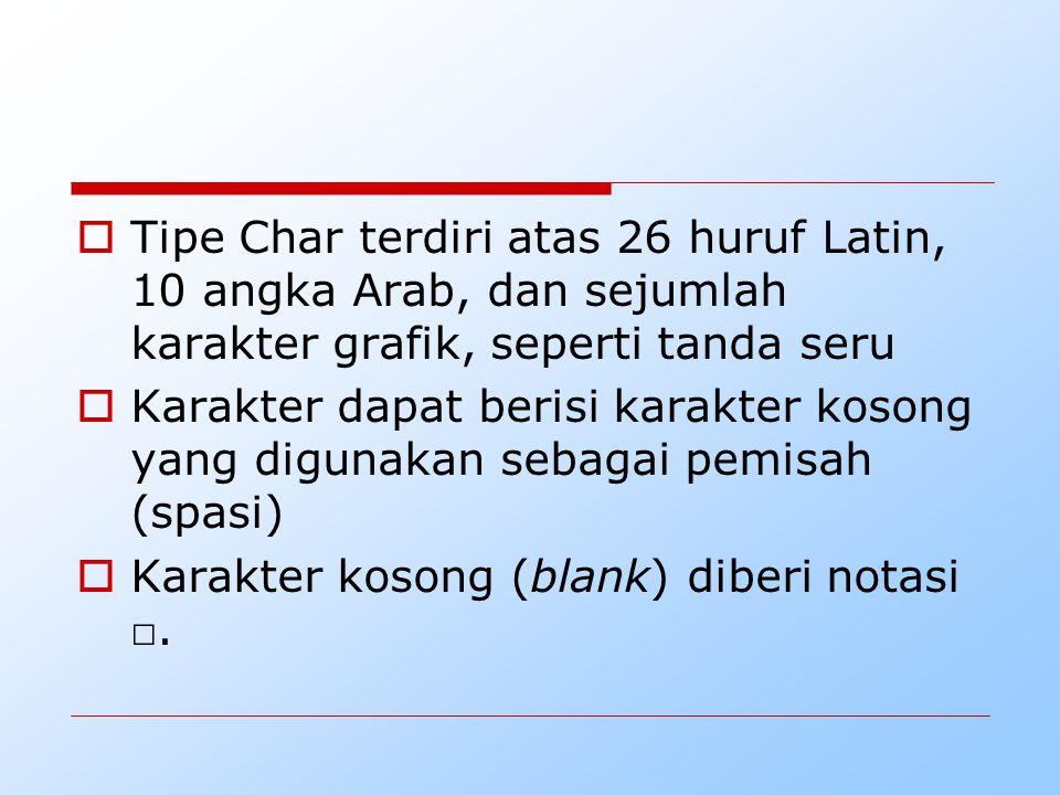 Tipe Char terdiri atas 26 huruf Latin, 10 angka Arab, dan sejumlah karakter grafik, seperti tanda seru