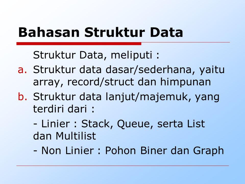 Bahasan Struktur Data Struktur Data, meliputi :