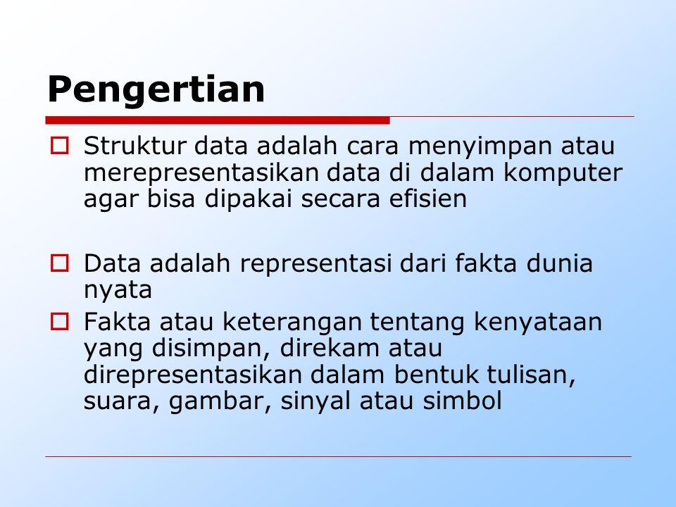 Pengertian Struktur data adalah cara menyimpan atau merepresentasikan data di dalam komputer agar bisa dipakai secara efisien.