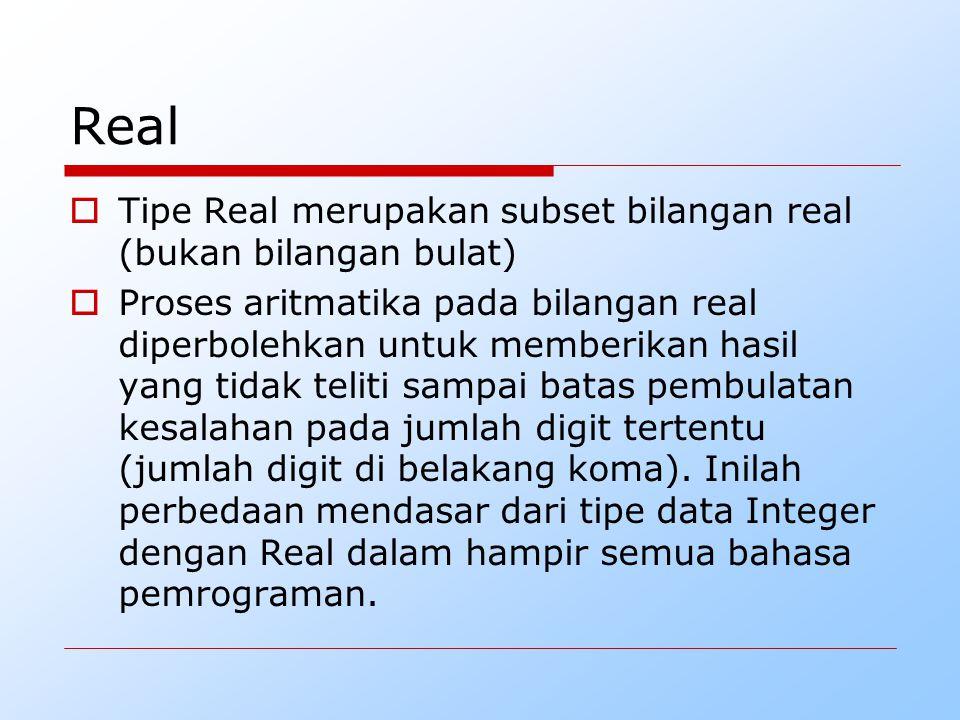 Real Tipe Real merupakan subset bilangan real (bukan bilangan bulat)