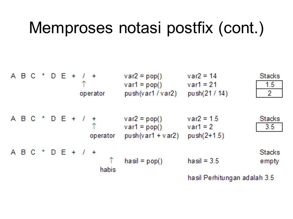 Memproses notasi postfix (cont.)