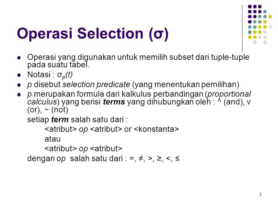 Operasi Selection (σ) Operasi yang digunakan untuk memilih subset dari tuple-tuple pada suatu tabel.