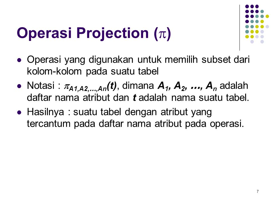 Operasi Projection (p)