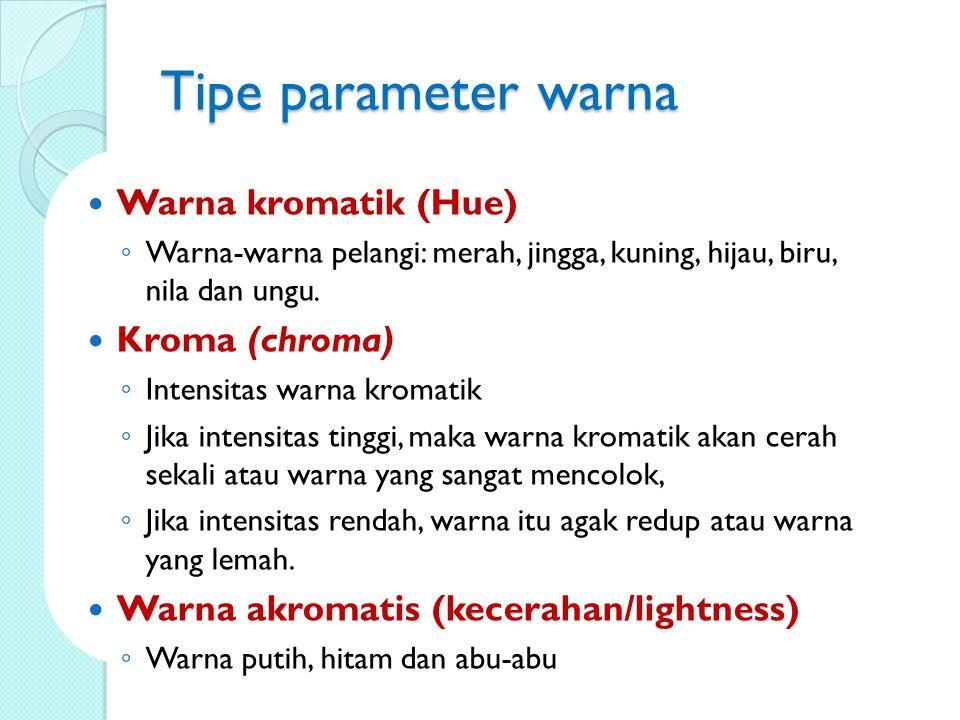 Tipe parameter warna Warna kromatik (Hue) Kroma (chroma)