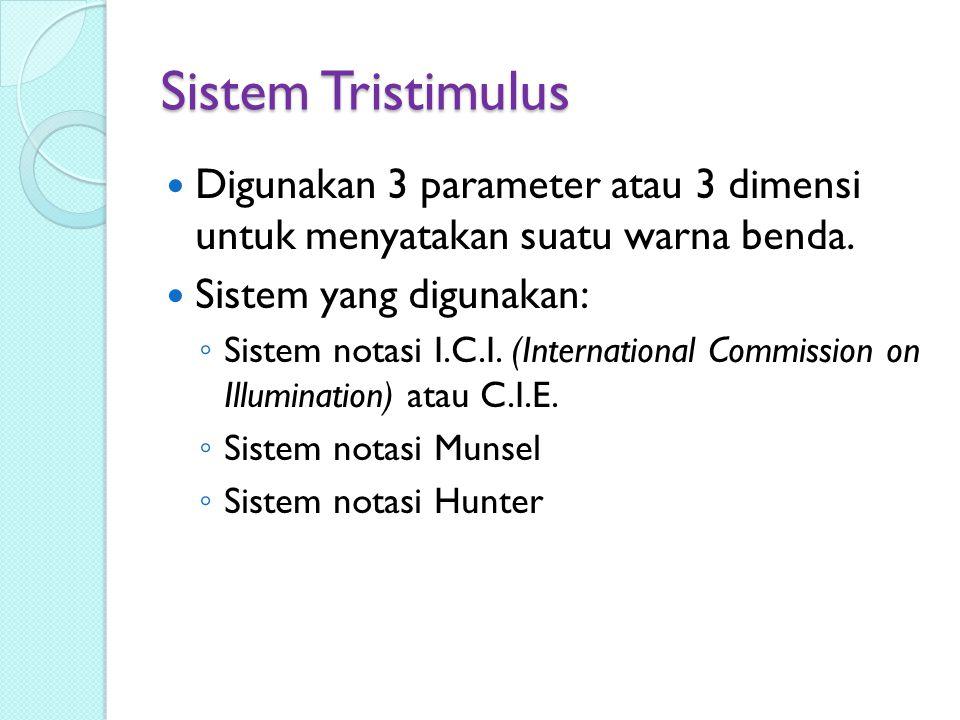 Sistem Tristimulus Digunakan 3 parameter atau 3 dimensi untuk menyatakan suatu warna benda. Sistem yang digunakan: